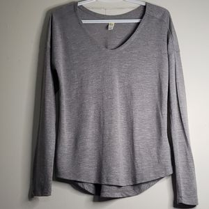 Lole Grey Long Sleeve V-Neck Knit Tee Small